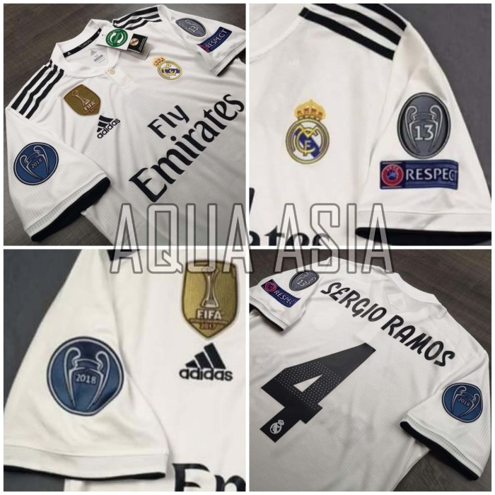7d3994d81 Jual Jersey NAME SET REAL MADRID HOME FUL PATCH UCL 2018 2019 Grade ...