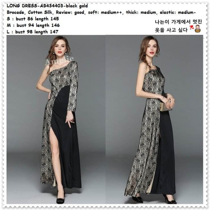 Jual Maxi Long Dress Sabrina One Shoulder Gaun Pesta Korea Import