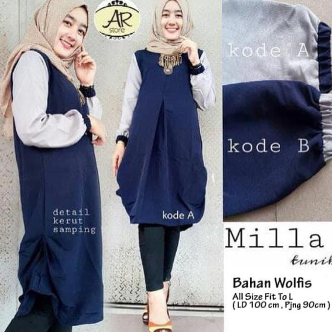 Jual Baju Atasan Blouse Wanita Baju Muslim Blus Muslim Milla Tunik ... eb1fdbc4d1