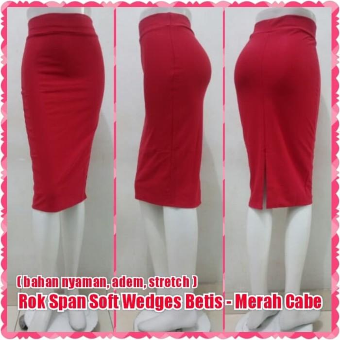 harga Rok span soft wedges betis - merah cabe | skirt midi 7/8 kerja resmi Tokopedia.com