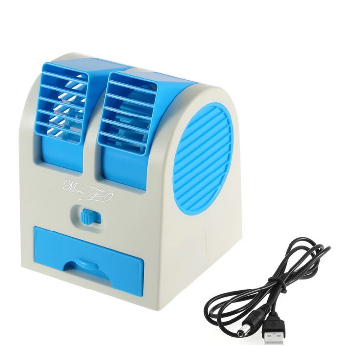 Alraidah UNGU - AC Mini Portable Mini Fan Double Blower Power USB
