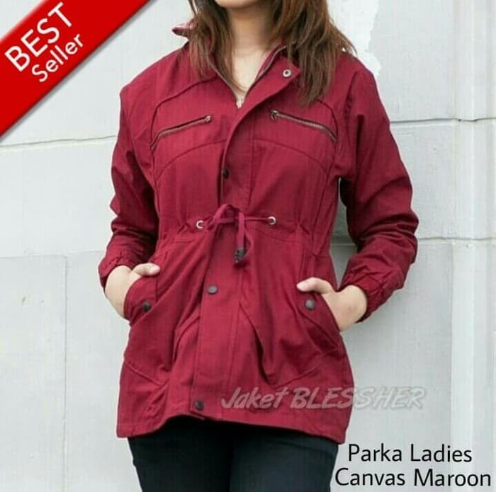 Jacket Parka Wanita Blessher Big Size XXL Maroon/ Jacket Baby Canvas