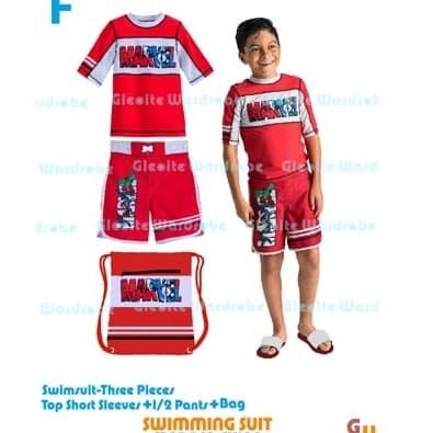 6-11TH Baju renang anak laki-laki cowok merah 2in1 celana renang