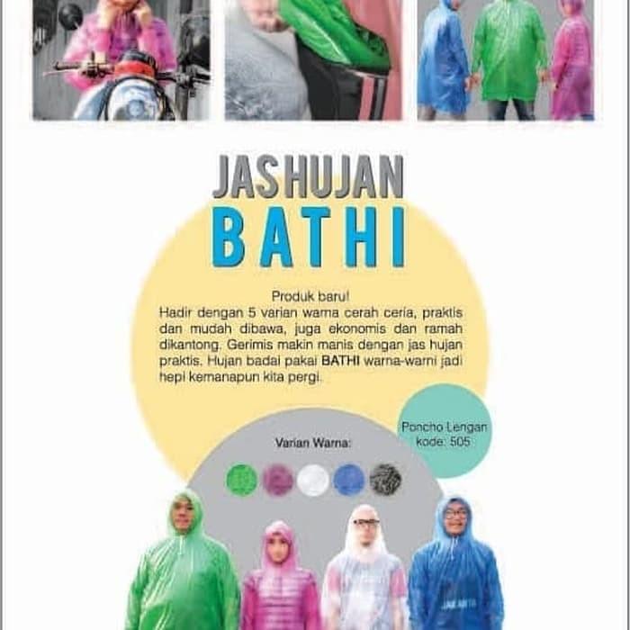 Jas Hujan PLEVIA RAINCOAT BATHI 505 Karet Poncho Motor rain coat - Putih