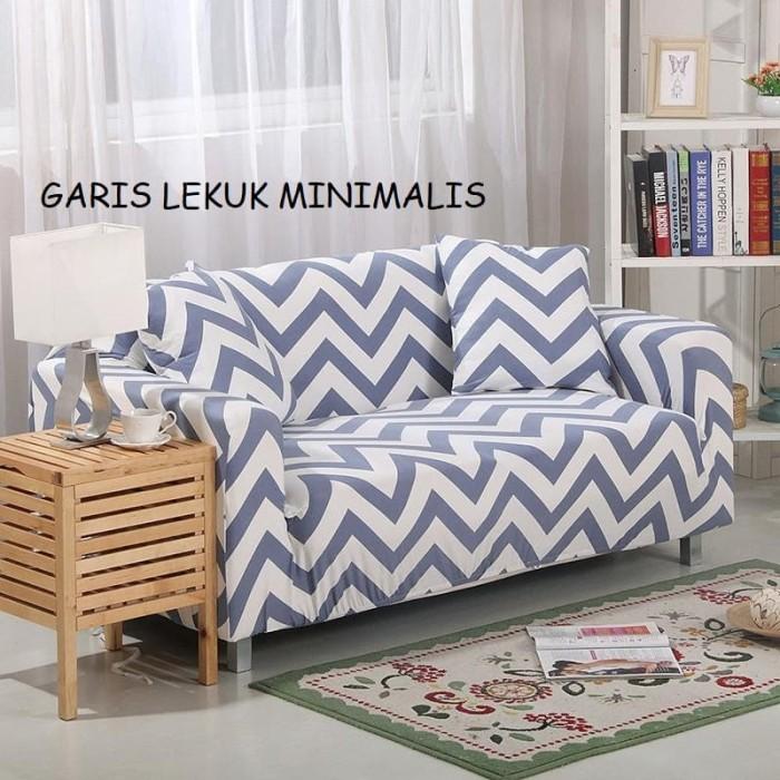 Cover sofa 2 seater free 2 sarung bantal ( garis lekuk minimalis )