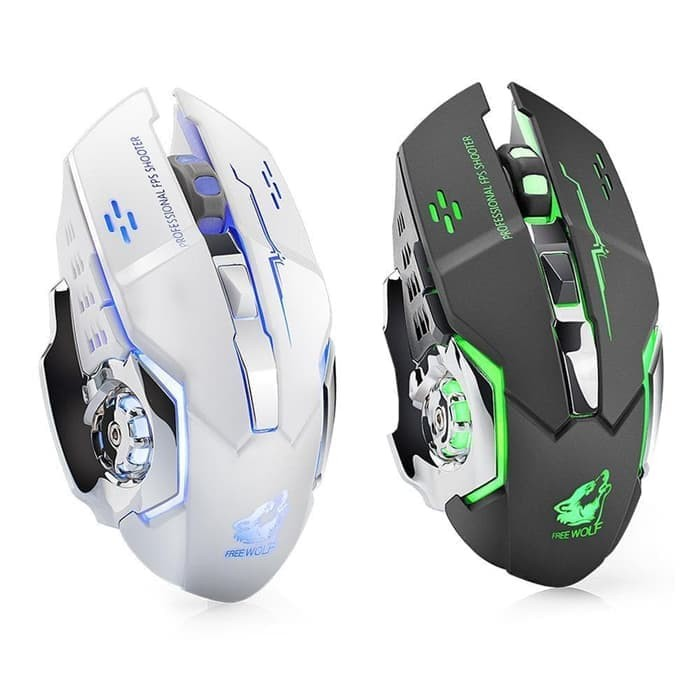 WIRELESS MOUSE GAMING SILENT CLICK RECHARGEABLE WOLF EDITION 1600 DPI