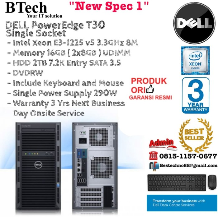 Jual DELL Server T30 PowerEdge Single Socket Intel Xeon E3-1225v5/16GB/2TB  - DKI Jakarta - BESTechno88 | Tokopedia