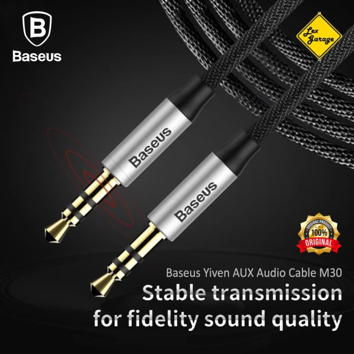 Foto Produk Kabel 3.5mm Baseus Aux Audio Cable Braided Gold Plated 150cm Original - Hitam Silver dari Lex Garage