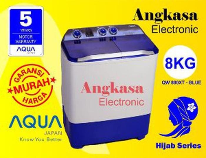 TURUN HARGA Mesin Cuci Aqua 8 Kg 2 Tabung QW 880 XT Hijab Series