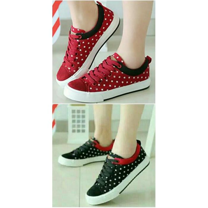 Sepatu Kets Wanita Bintang Merah & Hitam - Merah, ...