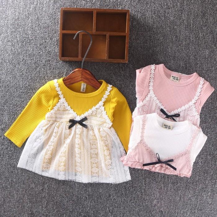 Long Sleeve Lace Princess Dress Cute Sweater Dress Girl Fake Two-piece