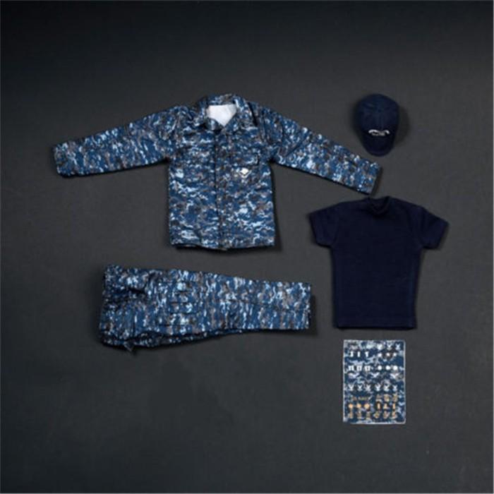 Set Jaket Kaos Celana Panjang Topi Motif Camo U.S Warna Biru Navy