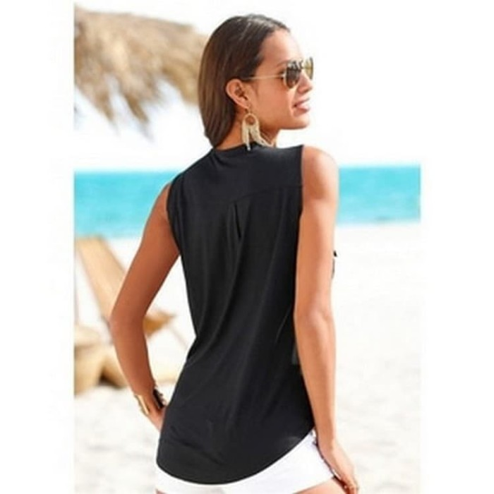 Baju Pantai Wanita Sleeveless V Neck Beach Shirt Size S-L