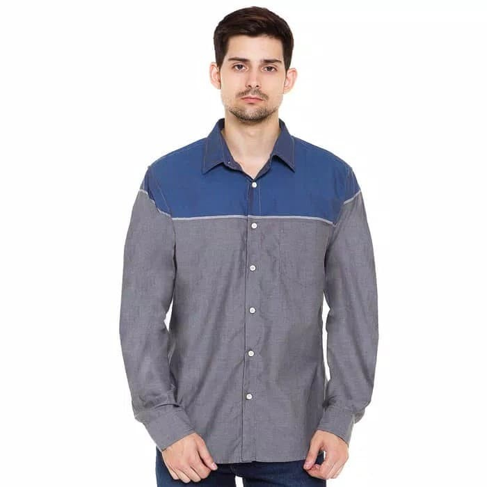 Baju Kemeja Pria Carvil Block 01 Blue/Grey - ,