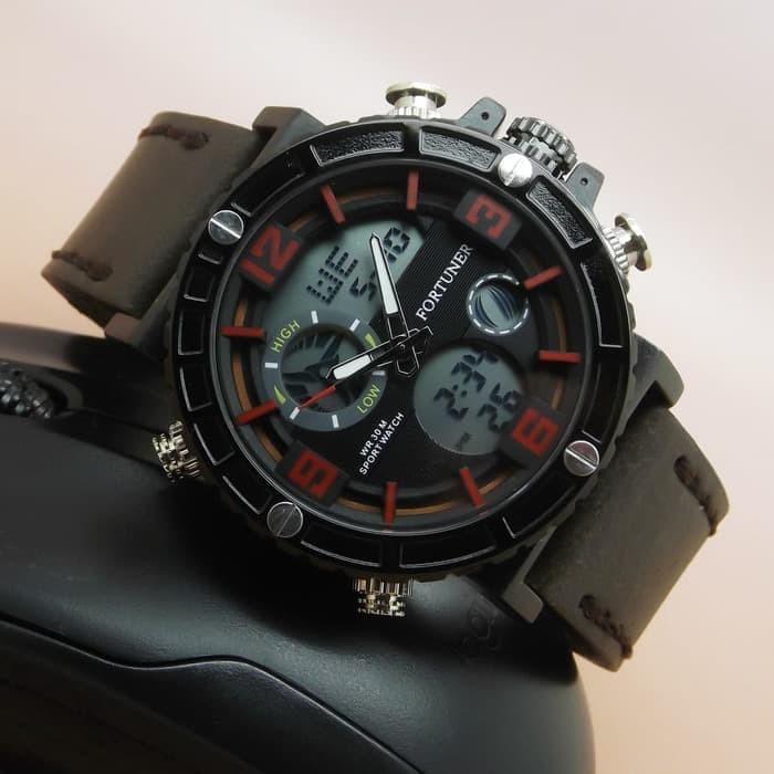 Jam tangan pria   cowok original fortuner fr5033 leather dark brown 55b01e697c