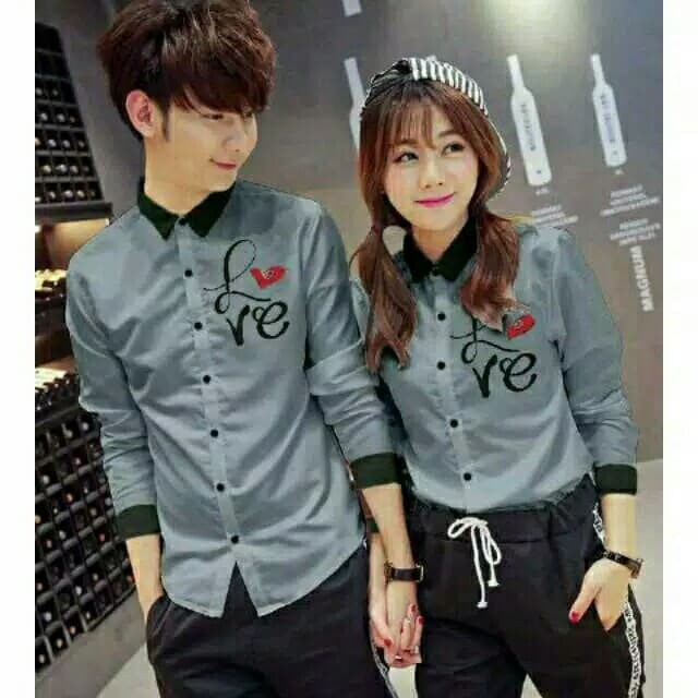 Kemeja Couple Lengan Panjang / Baju Pasangan list hitam navy
