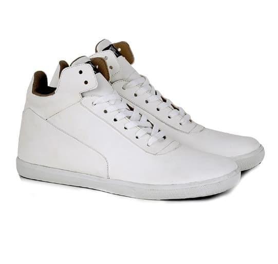 sepatu pria kulit putih h-t sepatu cowo sneakers semi boot casual