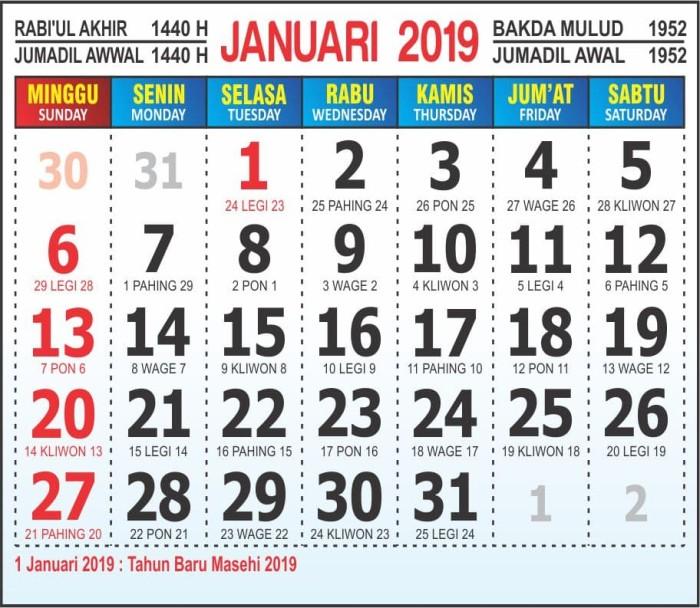 Jual Master Kalender 2019 Masehi Jawa Hijriyah Jakarta