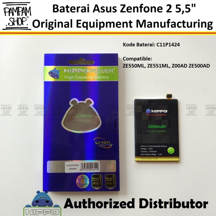 "Baterai Hippo Double Power Asus Zenfone 2 5.5"" Inch ZE550ML ZE551ML"