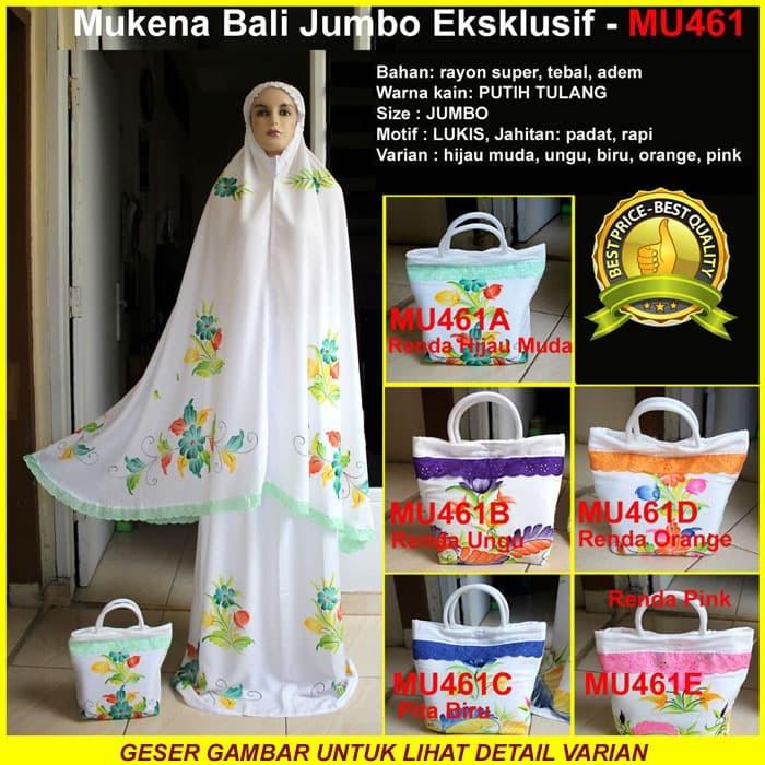 Mukena Bali Lukis Jumbo Eksklusif Rayon Super Variasi Renda - MU461 - Renda Ungu