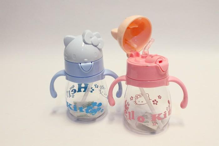 Botol Minum Anak Karakter Hello Kitty BPA Free Straw Bottle H-1130 - Biru Muda