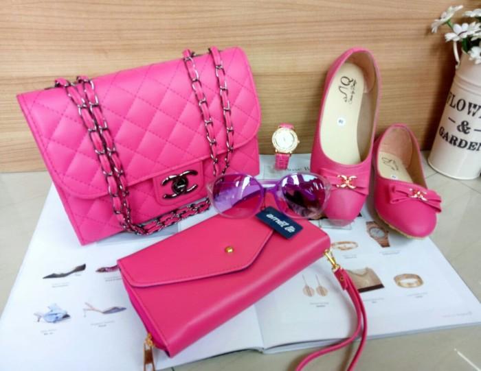 tas wanita tas terbaru 2018 tas selempang chanel key dompet flatshoes - Navy 10efee0c78