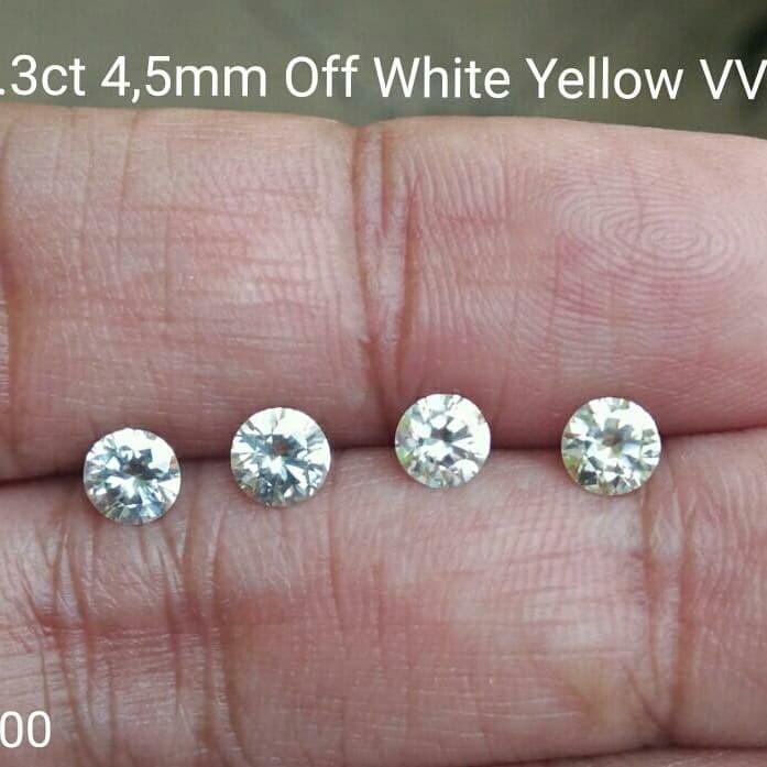 harga Diamond moissanite 0.3ct 4.5mm off white yellow vvs1 Tokopedia.com