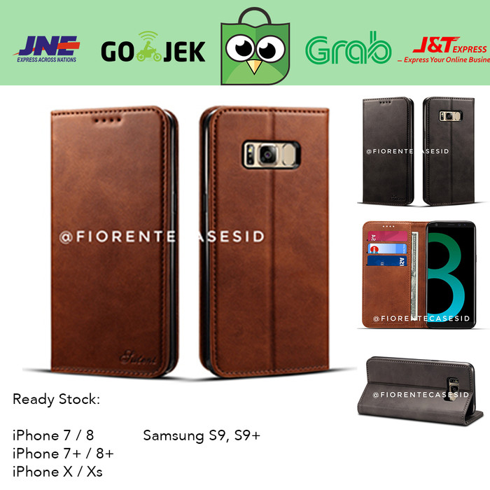 ... leather flip case cover casing kulit samsung galaxy s8 s8 s8plus plus Cokelat