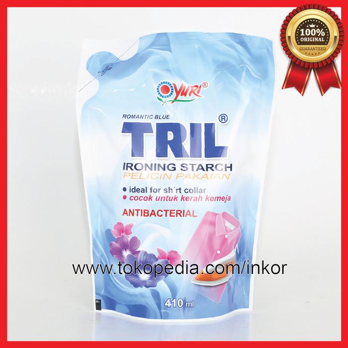 YURI PELICIN PAKAIAN ROMANTIC BLUE TRIL ANTIBACTERIAL BIRU POUCH 410ML