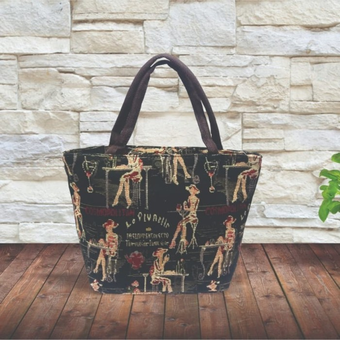 Tas fashion wanita tote bag kanvas tenteng girl hitam