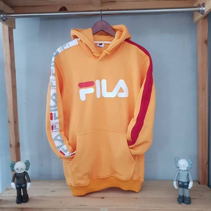 Sweater Hoodie Fila stripe orange