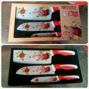 Supra Knife Set Rosemary 3 Pcs Pisau Set Motif Bunga Pisau Elegant