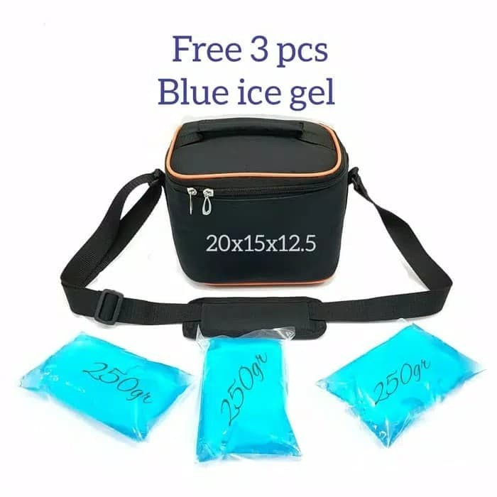 Foto Produk Cooler Bag Mini Free 3 pcs Blue ice Cooler Bag Tas Asi Asi Mini dari angelllshop