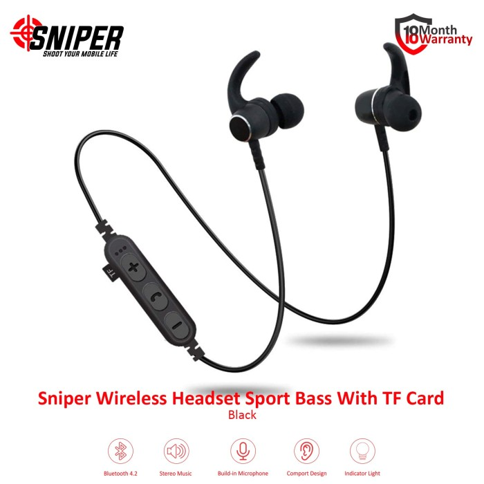 harga Sniper wireless headset sport bass with tf card - emas Tokopedia.com