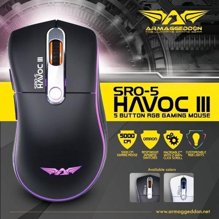 Foto Produk Armaggeddon SRO-5 HAVOC III V2.0 - Gaming Mouse dari Andina Nurkhafi