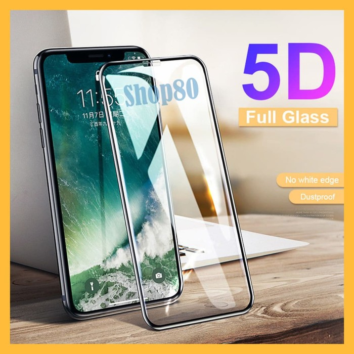 Foto Produk iPhone X / XS / Max / XR Tempered Glass 5D Full Cover Screen Guard - Hitam, XR dari Shop80