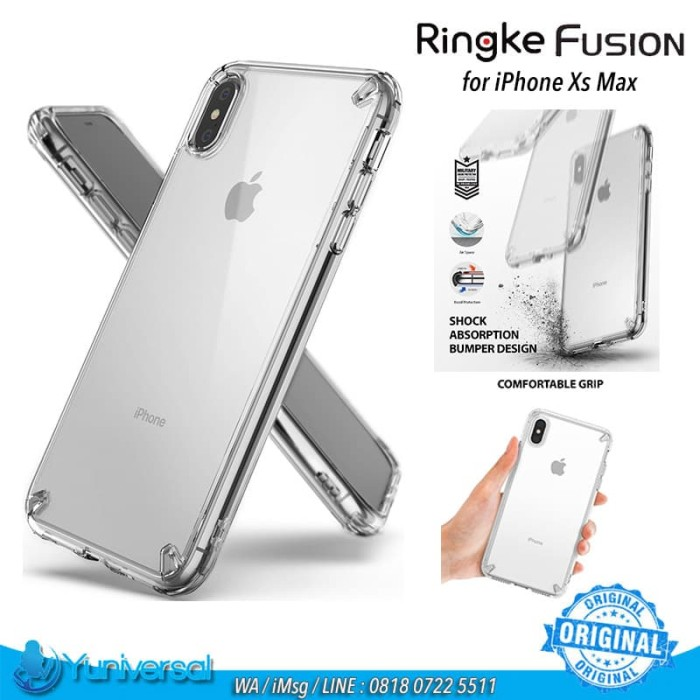 on sale a181c 83fc5 Jual Ringke Fusion iPhone Xs Max Case CLEAR Hard PC TPU Bumper - ORIGINAL -  Yuniversal Store | Tokopedia