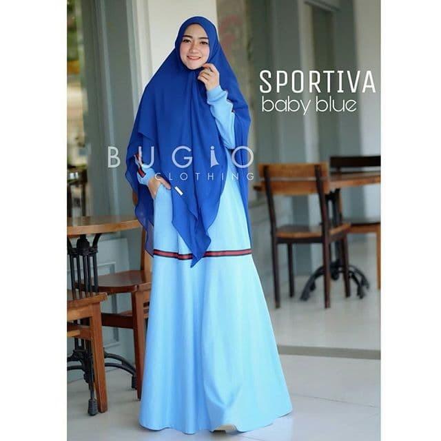 Foto Produk sportiva sky blue | gamis kaos harian by bugio dari Amily Hijab Tasik