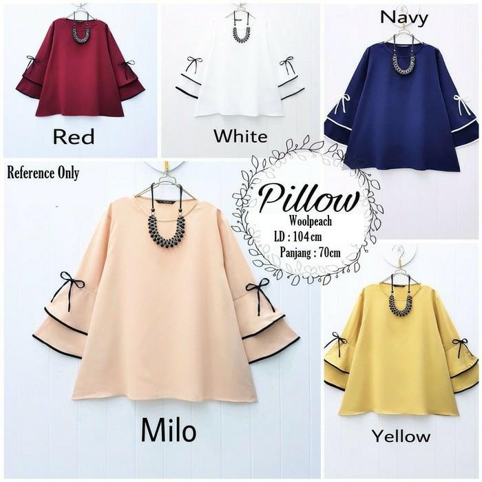 Jual Pillow Blouse Muslim Baju Atasan Blus Panjang Wanita Bisa Ukuran Besar Tulis Warnanya L Kota Cirebon Naysah Nay Tokopedia