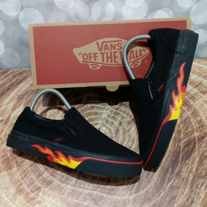 8ca5cab69e Jual Vans SLIP ON MOTIF FLAME WALL API FULL BLACK HITAM - PREMIUM ...
