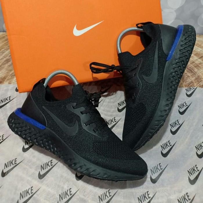 ba3bfb8fae72 Jual Sepatu NIKE EPIC REACT FLYKNIT FULL BLACK HITAM - UA PREMIUM ...