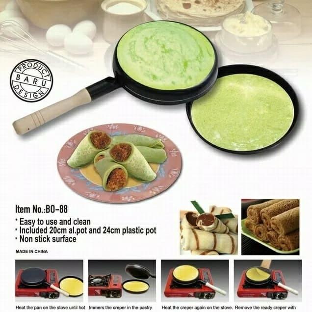 harga Wajan crepes telur dadar risol kulit lumpia wajan flat datar teflon Tokopedia.com
