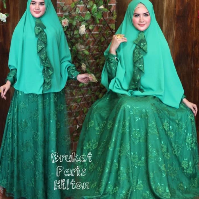 Jual baju muslim wanita-gamis pesta mewah-brukat hijau - Nurul ... a38f09b33d