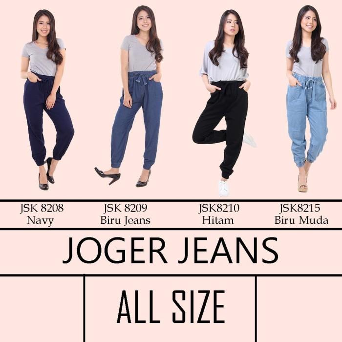 ... harga Celana panjang joger jeans pinggang karet wanita jsk 4 varian warna Tokopedia.com