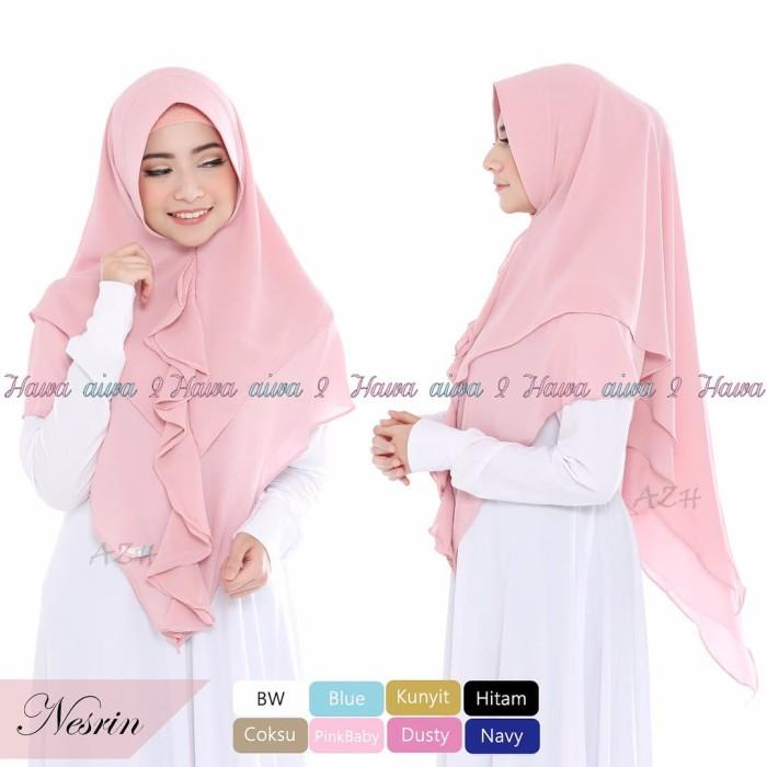 Jilbab Kerudung Bergo Khimar Nesrin 2 Layer Hijab Instan Syari