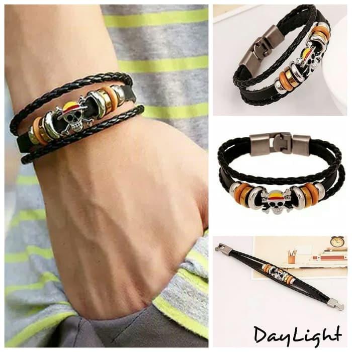 gelang kulit pria wanita couple leather bracelet multi layer one piece