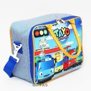 52915933f9 Tas Travel Bag Koper Kanvas Karakter Tayo Biru Selempan Berkualitas