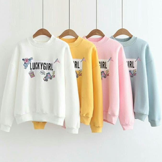 Termurah Jaket Sweater Murah / Baju Pink / Pakaian Wanita : Lucky Girl