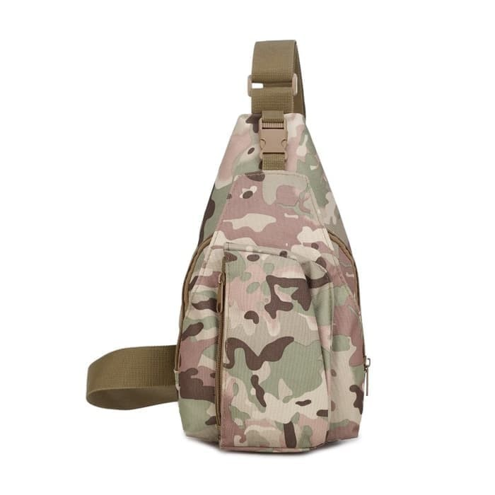 Tas Selempang Canvas Army Pria Crossbody Bag / Slingbag Hijau Loreng