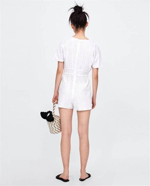3688c63742a Jual White Embroidered V Neck Playsuit Zara Romper Lookalike ...